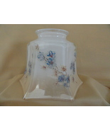 Vintage Iridescent Glass Hexagon Tulip Lamp Shade With Hand Painted Blue... - $19.99