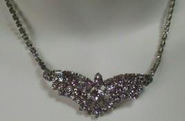Vintage Signed Jay Flex Sterling Faceted Prong-set Blue Rhinestone Necklace - $55.00