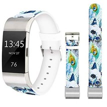 Flower Band for Fitbit Charge 3 SE,Jolook Replacement Leather (Blue Feat... - $24.09