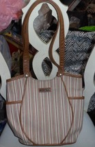 Longaberger olive, rust, tan striped bucket tote - $10.50