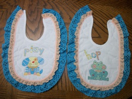 "Bibs Hand  XStitched - Decorated & Backed ""PATCHWORK PALS"" matches quilt - $39.99"