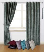 """CRUSHED VELVET SILVER GREY RING TOP CURTAINS *8 SIZES* & 4 X 17"""" FILLED ... - $68.60+"""