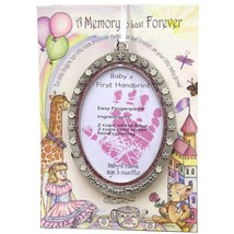 Baby's First Christmas Ornament Baby GIRL New Handprint Recipe Pink - $12.86