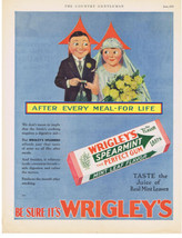 1929 WRIGLEY'S SPEARMINT GUM BRIDE & GROOM WEDDING YELLOW ROSES PRINT AD  - $9.99
