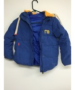 Toddlers Coat, Blue With Yellow Hood, 6T (Asian Size 130). - $9.74
