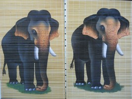 Wall Scroll With Elephant Hand Painted Scrolls Elephant 2 pc Set - $14.99