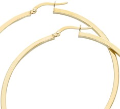 18K YELLOW GOLD CIRCLE EARRINGS DIAMETER 50 MM WITH SQUARE TUBE, MADE IN ITALY image 2