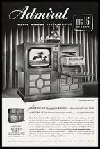 """Admiral Television Big 16"""" Screen Phonograph RADIO Set 1949 Ad - $10.99"""