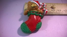 """1985 Hallmark Cards Lapel Pin Teddy Bear & Candy Canes in a Stocking 2"""" ... - $5.00"""