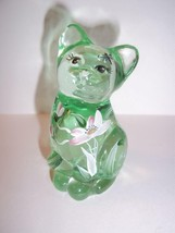 "Fenton Glass Willow Green ""Youre The Best"" Mini Kitten Cat Figurine - $33.95"