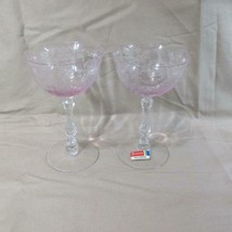 """Pair Fostoria NAVARRE Pink Etched Champagne/Sherbet Crystal 5 5/8"""" - $67.32"""