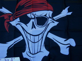 "Flag 3X5 3'X5"" 90X150 cm HAPPY PIRATE jolly roger skull and bones - $9.90"