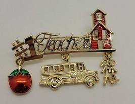 Vintage gold tone Danecraft #1 Teacher kids red schoolhouse apple bus brooch pin - $6.88