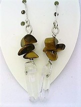 Tiger Eye Gemstone Nuggets And Crystal Silver Wire Earrings - $13.39