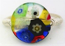 Millefiore Glass Bead Silver Wire Wrap Ring sz.8.5 - $10.07