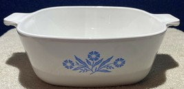 VTG 60's CorningWare Blue Cornflower  1.5 Quart Square Casserole Stylized Flame - $17.81