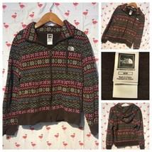 The North Face Juniors M Zipper Alpine Brown Pink Hoodie Sweatshirt A3250 - $21.28