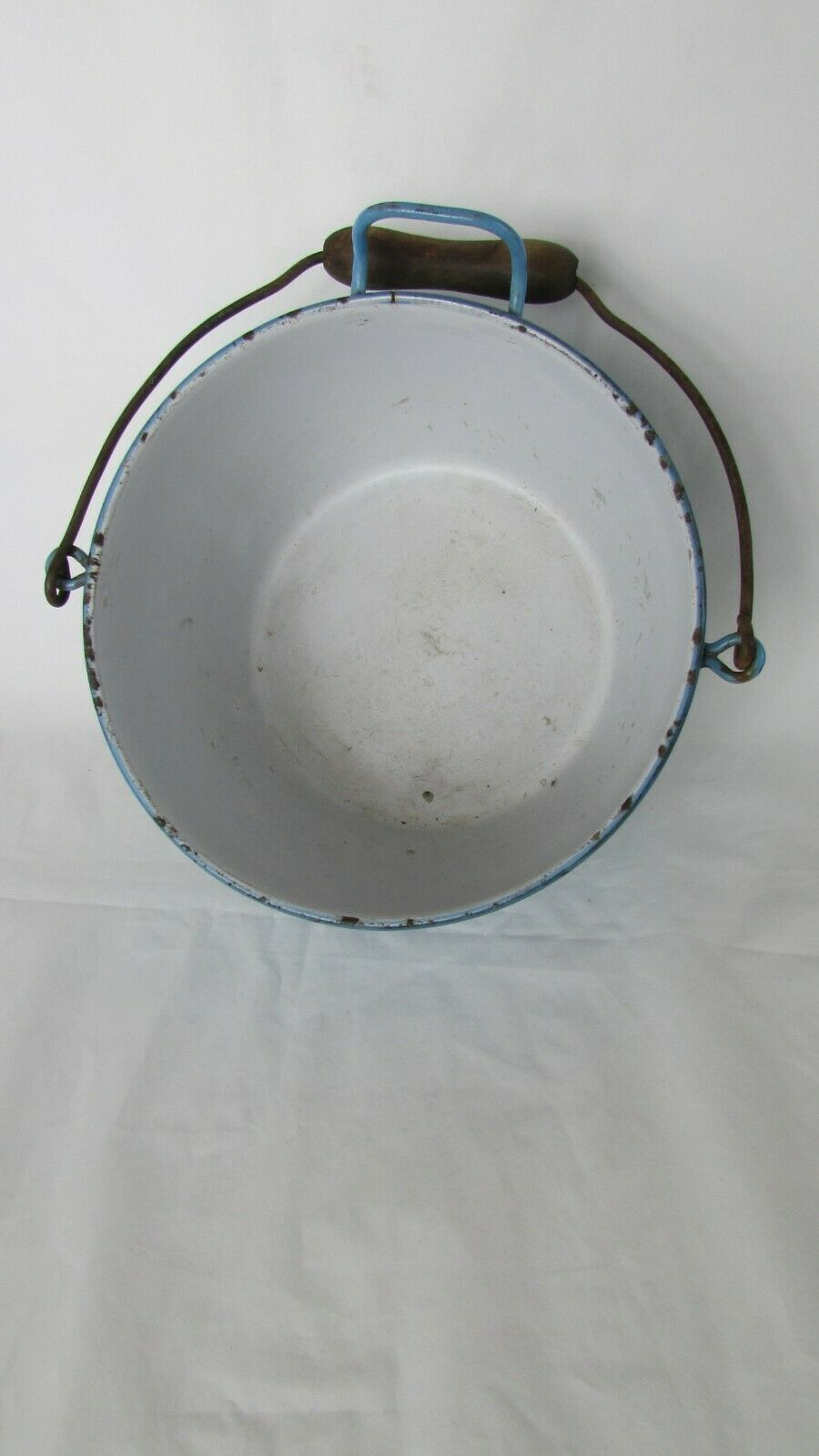Vintage Enamel  Pail Bucket Blue and White Enamelware With Wooden Handle image 12