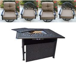 Outdoor conversation set fire pit propane deep seating Elisabeth 5pc aluminum. image 2