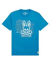 Men's Psycho Bunny Short Sleeve Newbold Graphic Tee Logo Electric Teal T-Shirt image 3