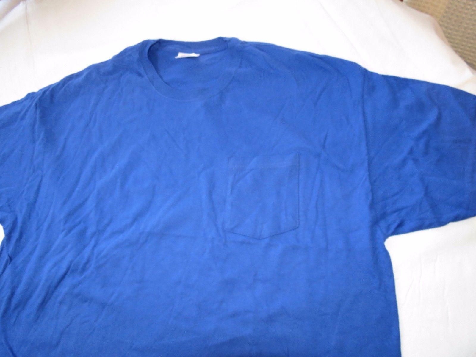 Hanes Heavyweight adult XXL 2XL 50-52 mens short sleeve shirt royal blue NOS
