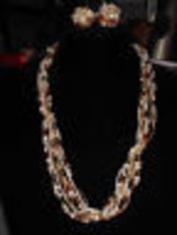 VTG Multi Strand Color Faux Pearl Bead TORSADE Twist Necklace & Earring ... - $19.80