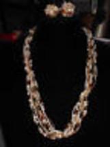 VTG Multi Strand Color Faux Pearl Bead TORSADE Twist Necklace & Earring ... - $19.80