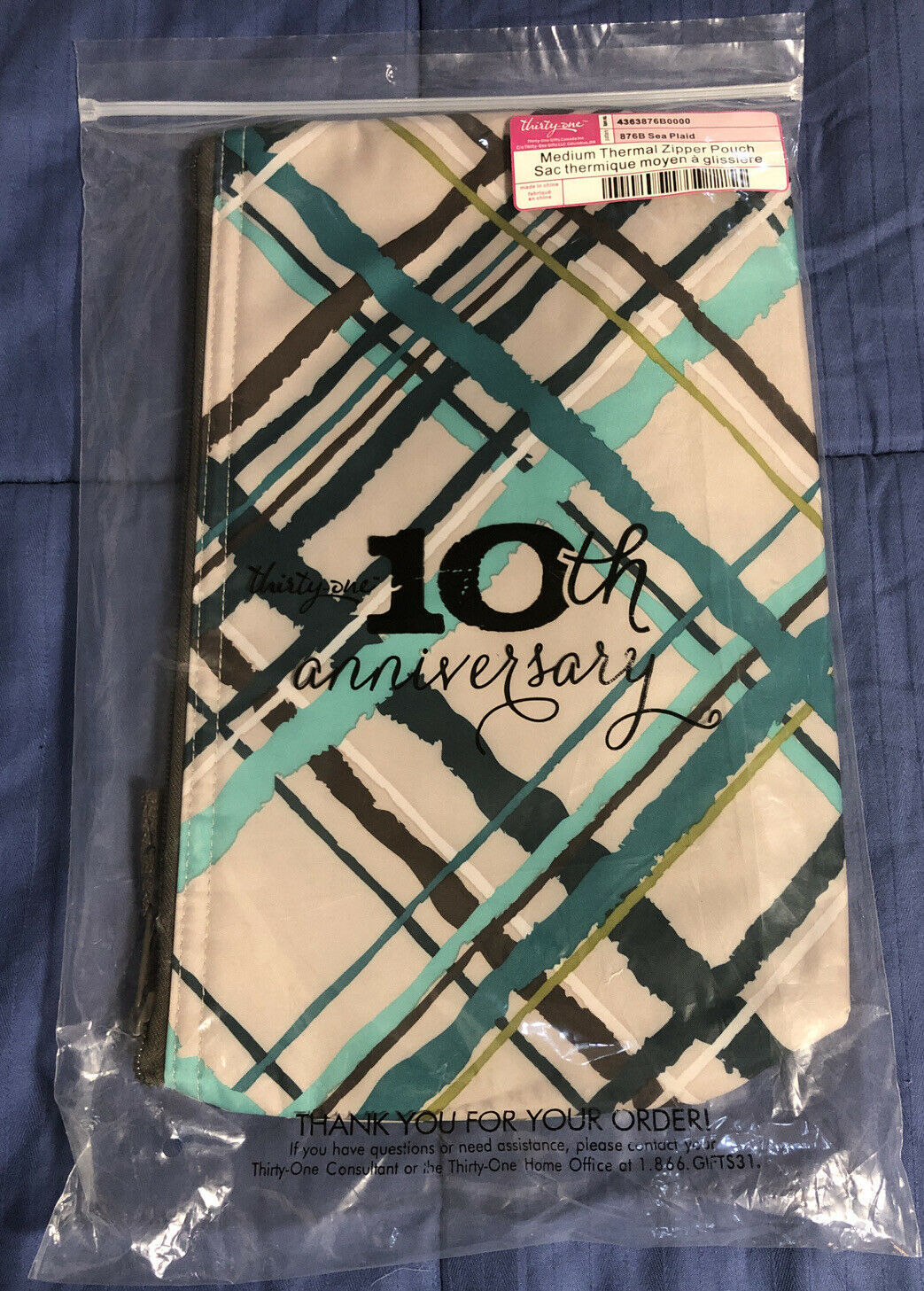 Primary image for Brand New - Thirty-One Medium Thermal Zipper Pouch - Sea Plaid