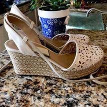 Michael Kors Women Wedge Espadrilles Eyelet Floral Sandals 10 Tie Lace U... - $44.54