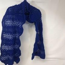 Beautiful Hand Made Acrylic Crochet Knit Scalloped Shawl Scarf Wrap Blue... - $21.29