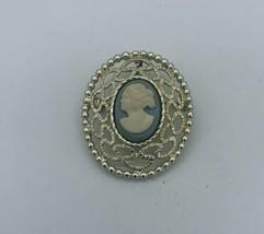 Ornate~Vintage~1960s~Sarah Coventry~Cameo~Brooch~Pendant~Silver Tone~Blu... - $10.89