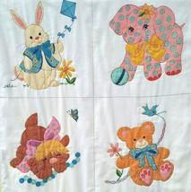 Vintage Handmade Crib Quilt Painted Baby Animals Puppy Elephant Bear Bunny - $25.82