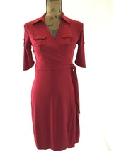 Ann Taylor LOFT dress 4 Petite Small dark red stretch knit faux wrap buc... - $16.95