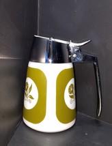 VTG Dripcut Server Syrup Dispenser Milk Glass Green Flowers USA Morning ... - $9.49