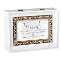 Roman Large Jeweled Friend White Music Box - $46.30