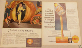 Lot Of 2 Magazine Ads For Shell Motor Oil And Gasoline - $8.90