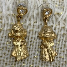 Precious Moments Pierced Earrings Girl Holding Cross Dangle Gold Tone Ch... - $8.85