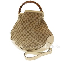 GUCCI Handbag Canvas Leather Beige Ivory 169976 Shoulder Bag Italy Authe... - $397.38