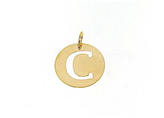 18K YELLOW GOLD LUSTER ROUND MEDAL WITH A LETTER C MADE IN ITALY DIAMETER 0.5 IN