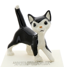 Hagen-Renaker Miniature Ceramic Cat Figurine Black and White Tuxedo Cat Papa