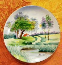 "Vintage Lake Cottage Pathway Hand Painted Signed Buma Collector Plate 6""... - $27.44"