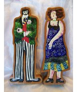 Surroca/Vidiella: Man and Woman -Wood/Ceramic Figurines crafted in Spain... - $19.99