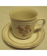 Cordella Collection Cream and Pink Floral Stoneware Cup and Saucer  - $9.95