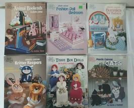 Lot 6 AMERICAN SCHOOL of NEEDLEWORK Plastic Canvas Leaflet Pattern Books... - $23.95