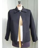 Carole Little Light Black Blazer/Coat lined with DETACHABLE fur collar S... - $40.00