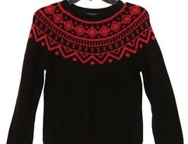 Chaps by Ralph Lauren Black Red Scoopneck Dolman Long Sleeve Sweater XS X Small - $49.98