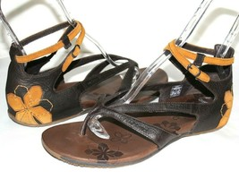 ✿ MERRELL Lotta Mahogany Leather Floral Ankle-Strap Sandals 11 M GREAT! ... - $42.74