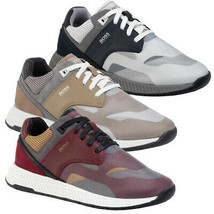 Hugo Boss Men's Low-top Trainers Nappa Leather Sneakers Shoes Titanium Runn