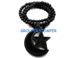 Crescent Moon With Star New Wood Pendant With 36 Inch Wood Beaded Necklace - $13.99