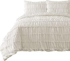Ruched Pinch Pleat Ruffled Embellished Comforter Set, Ivory QUEEN Size B... - $44.88